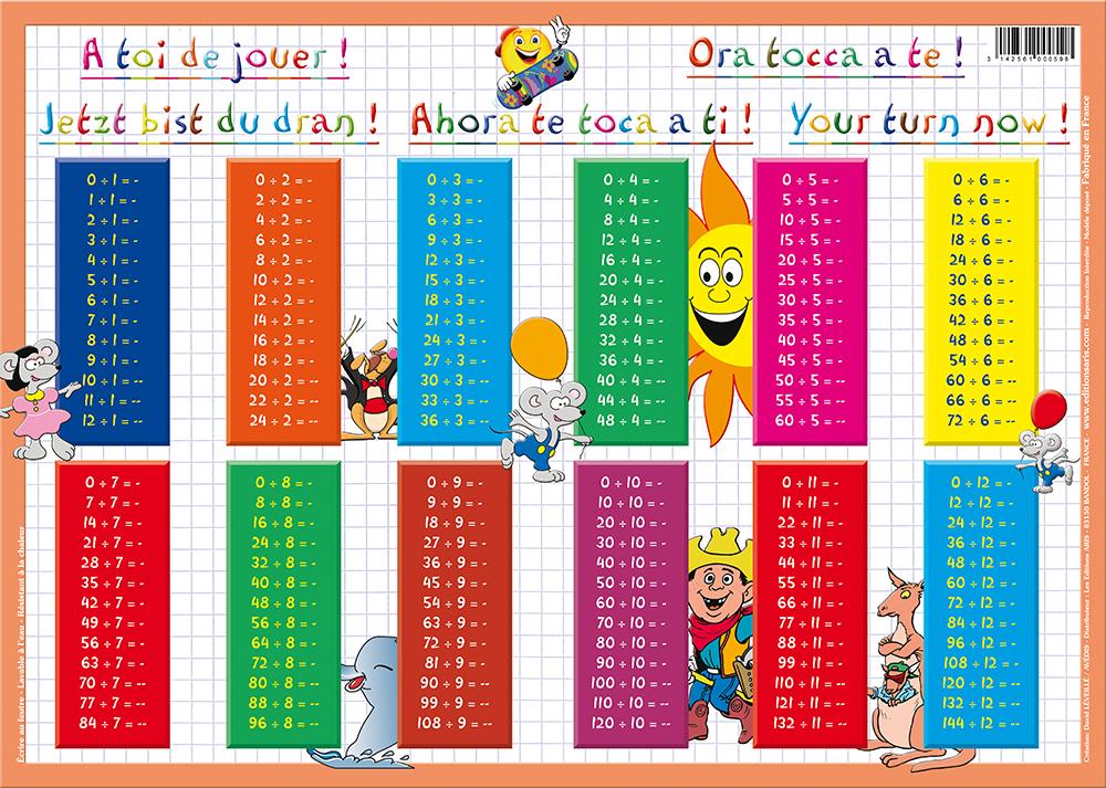 Editions aris tables de division for Table de 0 6