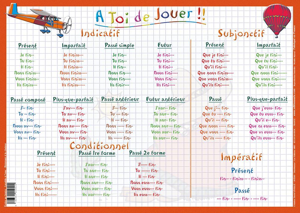 Editions aris verbes du deuxi me groupe for A table en espagnol